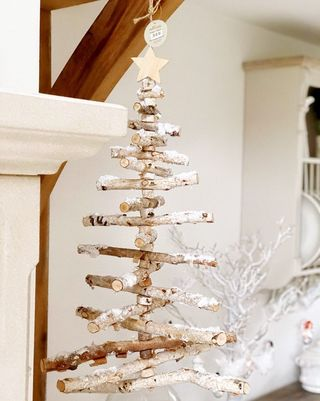 Sapin de Noël échelle en bois de bouleau véritable