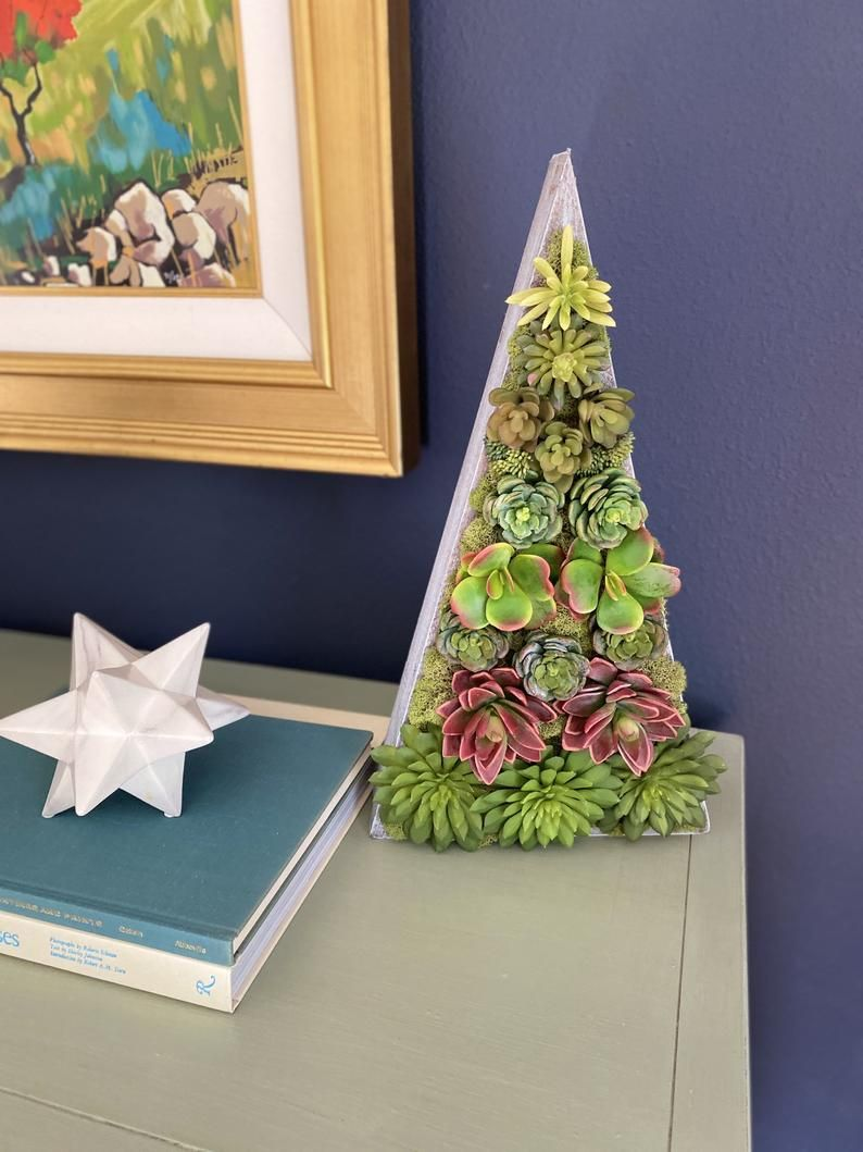 These Succulent Christmas Trees On Etsy Are The Cutest Alternative For Small Spaces Small Christmas Tree Ideas