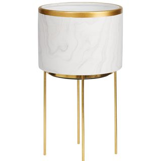 Marble Effect Standing Planter With Metallic Rim