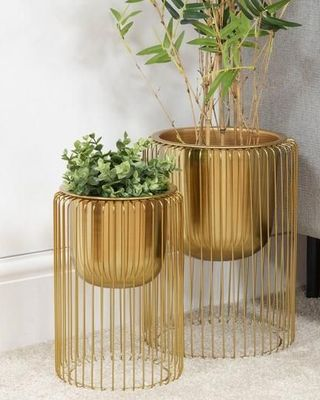 Hestia Set Of 2 Gold Finish Metal Planters