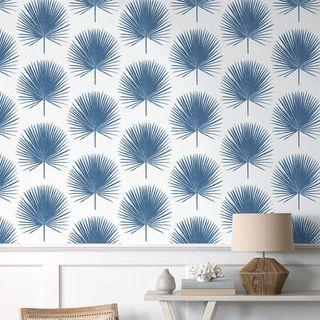 Blue Palm Leaf Temporary Wallpaper