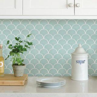 Wallpops Mint Shell Peel and Stick Backsplash Tile