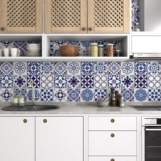 Blue Floral Mosaic Peel-and-Stick Tiles