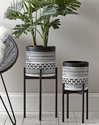 Two Monochrome Standing Planters