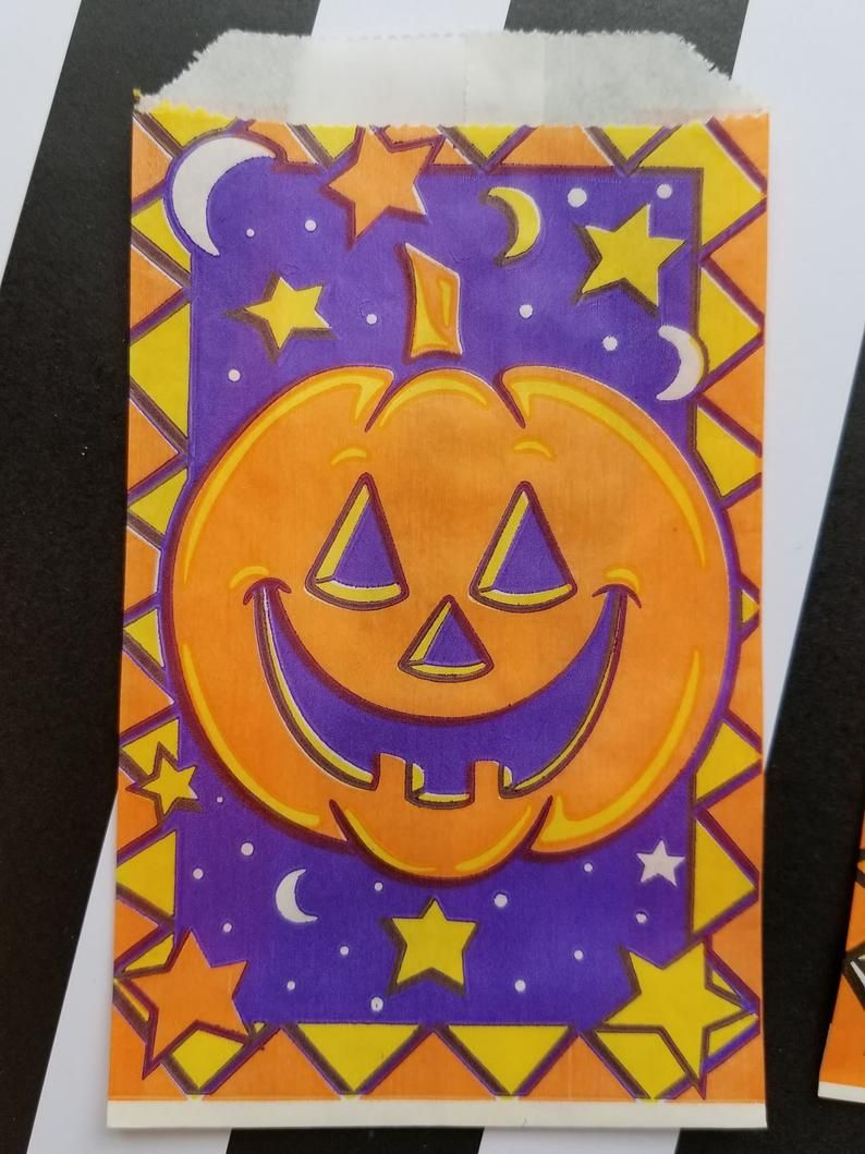 All hand painted vintage Halloween candy bag art on a wooden box