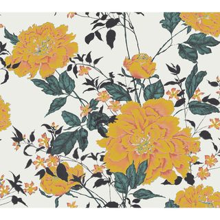 Vintage Floral Yellow Peel & Stick Wallpaper