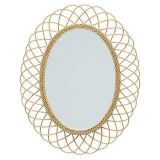 Rattan Oval Wall Mirror