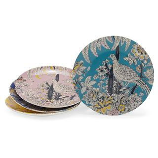 Tropical Toile Bird Appetizer Plate Set