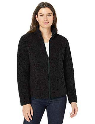 Polar Fleece Lined Sherpa Full-Zip Jacket in Black