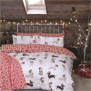 Christmas Dogs Duvet Cover Check Pattern Reversible Bedding Double 266066