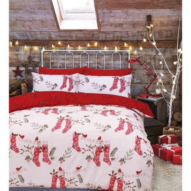 Christmas Words Santa Elves Reindeer Trees Presents Cotton Single Duvet Cover