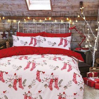 Christmas Stocking Red White Reversible Duvet Cover