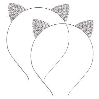 Crystal Rhinestone Metal Cat Ear Headband
