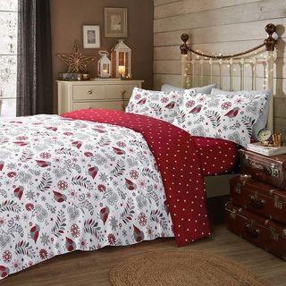 Scandi Christmas Robin Brushed Cotton Bedding Set Red