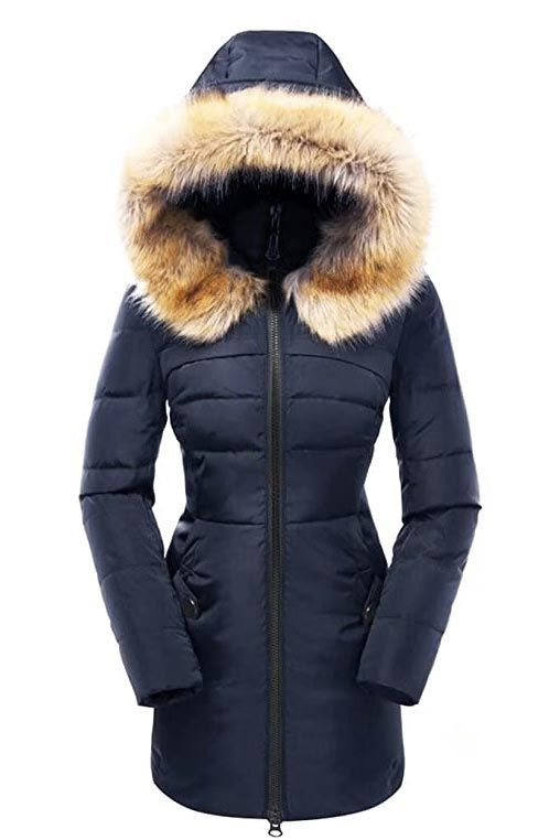 Long Down Coat Womens Winter Loose Fitting Thin Cocoon Zipper Hooded Down Coat With Pockets Winter Coat For Women Womans Casual Down Coat