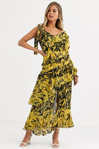 One Shoulder Dress In Yellow Black Mixed Print