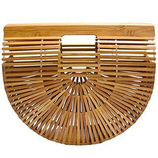 Miuco Womens Bamboo Handbag Handmade Large Tote Bag Size Small