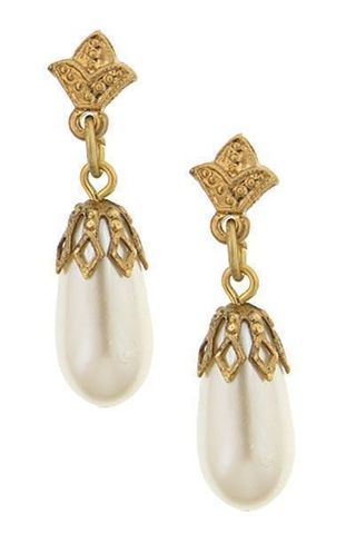 1928 Jewelry Gold-Tone Costume Pearl Drop Earrings