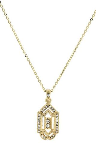 Downton Abbey Gold-Tone Crystal Pendant Necklace 16 - 19 Inch Adjustable