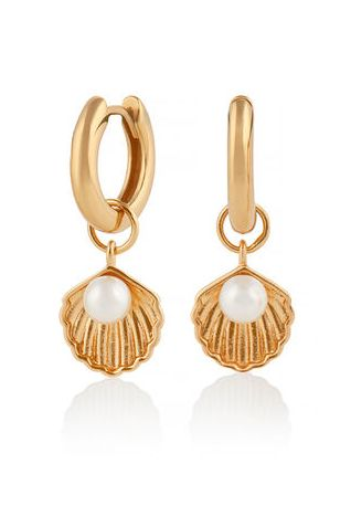 Under The Sea Shell Huggie Hoops White Pearl Gold