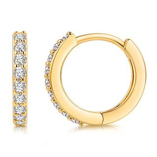 18K Gold Plated Cubic Zirconia Cuff Earrings