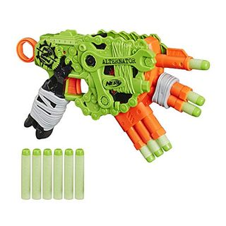 NERF Zombie Strike Alternator Blaster - Dispara 3 formas - Incluye 12 dardos oficiales Zombie Strike Elite - para niños, adolescentes, adultos