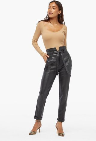 High Rise Belted Faux Leather Trousers