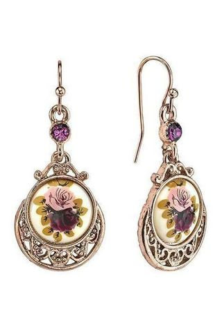 1928 Jewelry Rose Gold Tone Purple Crystal Flower Drop Earrings
