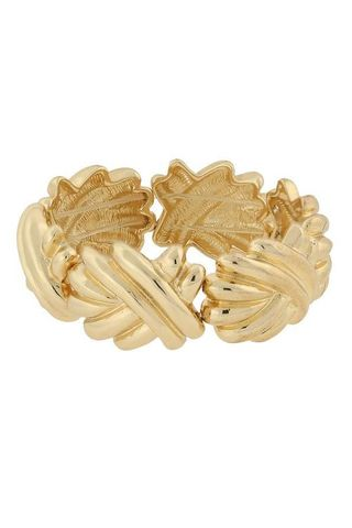 1928 Jewelry Gold-Tone Articulated Swirl Stretch Bracelet