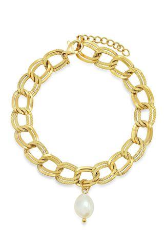 Bracelet double chaîne avec perle d'eau douce