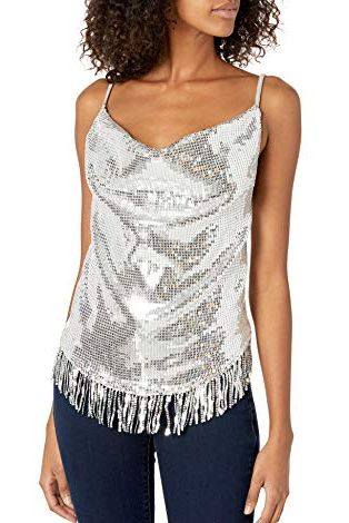 Women's Handkerchief Top With Sequin Fringe