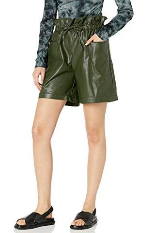 Women's Vegan Leather Paperbag Shorts