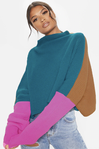 Pink Oversized Colour Block Sweater