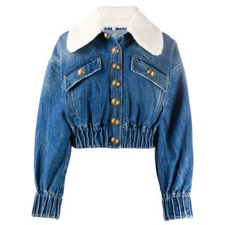 Faux Shearling-Trimmed Denim Jacket