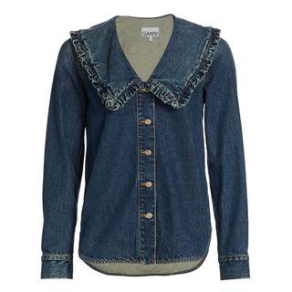 Ruffle-Collar Denim Shirt