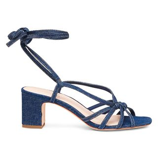 Libby Ankle-Wrap Denim Sandals