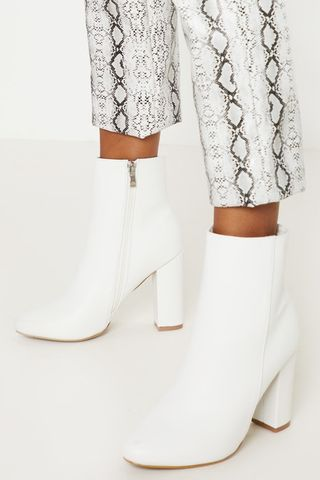 White Faux Leather Ankle Boot
