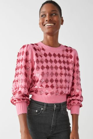 Sparkling Harlequin Puff Sleeve Sweater