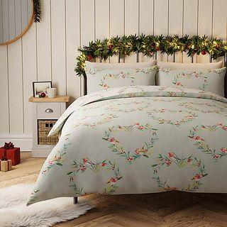 Robin Heart Reversible 100% Cotton Duvet Cover and Pillowcase Set