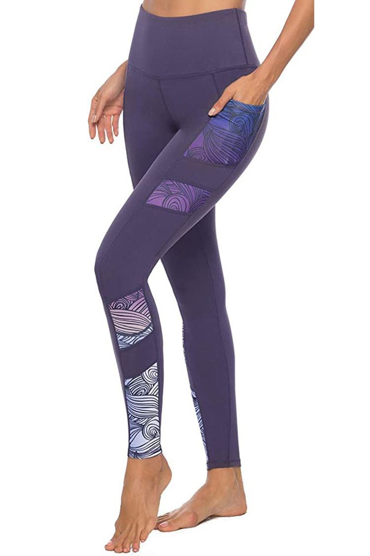 Bbrand Womens Tummy Control High Waisted Pattern Full-Length Yoga Pants with Pockets Swimming Pants