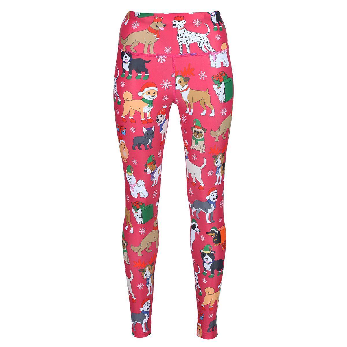 Xmas Womens Christmas Printed Yoga Pants Fitness Leggings Gym Sports Trousers UK