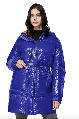 Warm Winter Belted Down Coat with Stand Collar