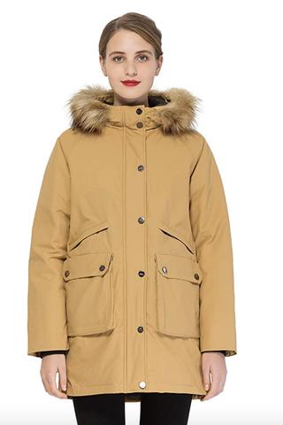Down Winter Coat with Fur Hood