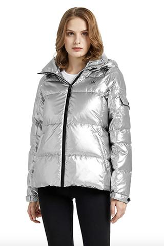 Winter Down Metallic Hooded Puffer Jacket