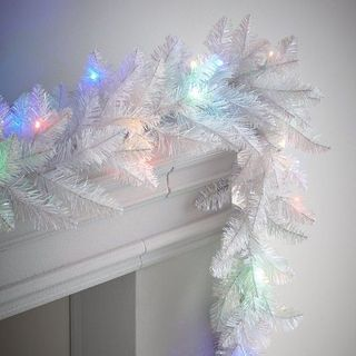Pre-Lit White Garland with Multicoloured Lights