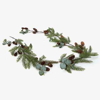 Glitter faux eucalyptus and fir garland