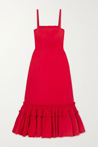 Como Ruffled Cotton Midi Dress