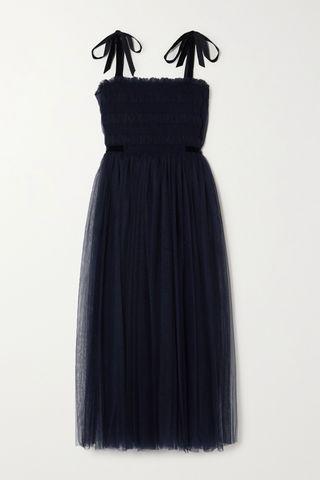 Marta Velvet-Trimmed Shirred Tulle Midi Dress