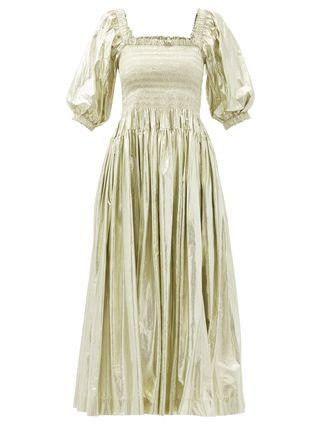 Camilla Shirred Taffeta Midi Dress