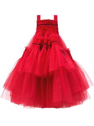 Meva Bow-Embellished Hand-Smocked Tulle Dress